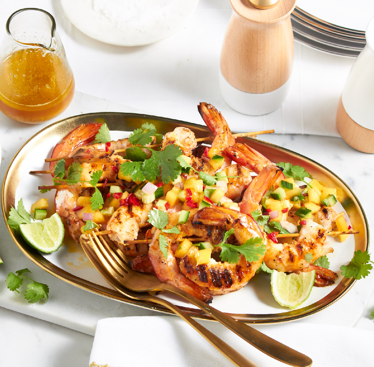 BBQ grilled prawns with mango salsa recipe